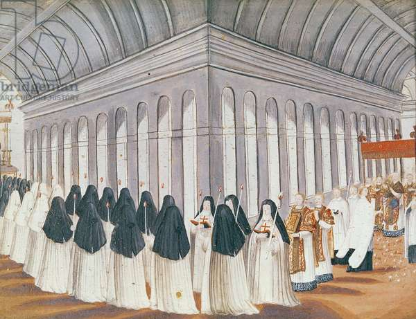 Procession of the Holy Sacrament in the Cloister, from 'l'Abbaye de Port-Royal', c.1710 (gouache on paper)