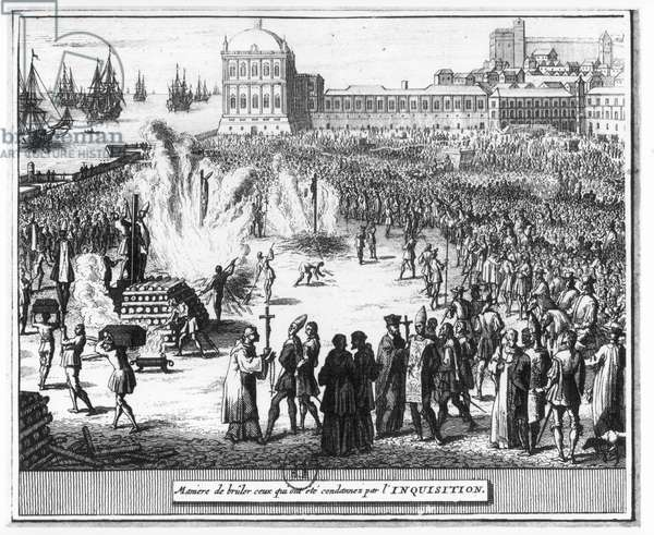 Method of Burning those Condemned by the Inquisition (engraving) (b/w photo)