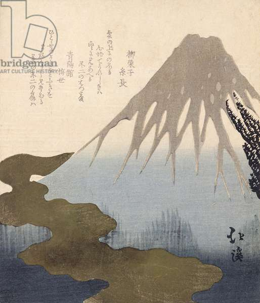 Mount Fuji Under the Snow (coloured engraving)