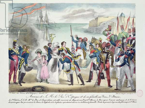 Arrival of His Majesty Ferdinand VII and his family at Porte Sainte Marie, 1 October 1823, 1823 (coloured engraving)