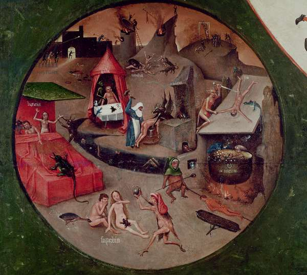 Tabletop of the Seven Deadly Sins and the Four Last Things, detail of Hell, c.1480 (oil on panel)