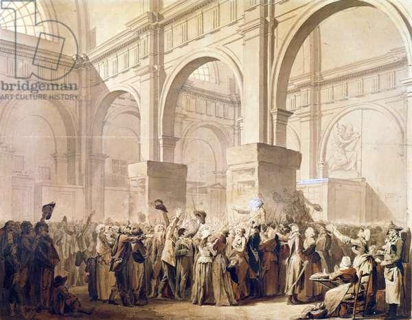 The Triumph of Marat (April 24th 1793) (pen & ink on paper)
