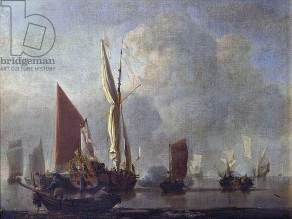 Naval Battle (oil on canvas)