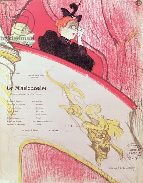 Cover of a programme for 'Le Missionaire' at the Theatre Libre, 1893-94 (colour litho) (see also 202671)