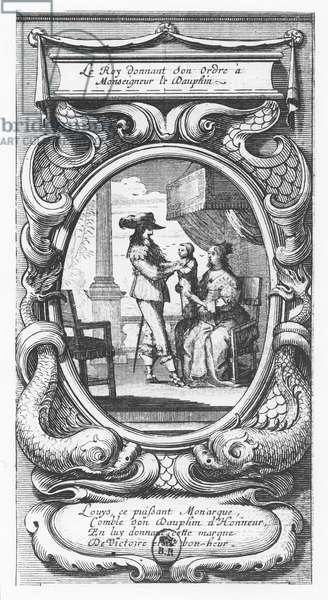 Louis XIII, King of France giving orders to Monseigneur le Dauphin (engraving)