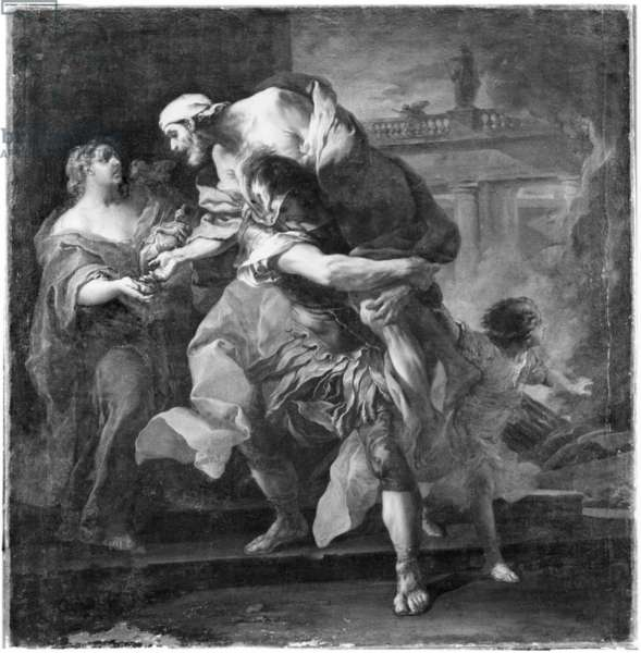 Aeneas carrying Anchises, 1729 (oil on canvas) (b/w photo)