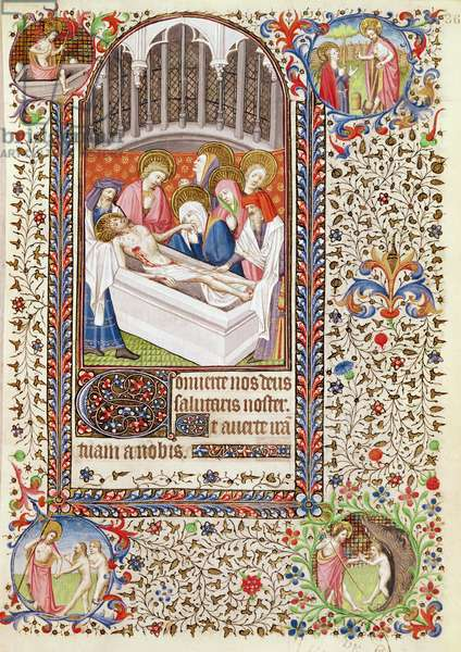 Ms 547 fol.36 Entombment of Christ, from a Book of Hours used by a woman from Poitiers (vellum)