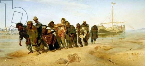 The Boatmen on the Volga, 1870-73 (oil on canvas)