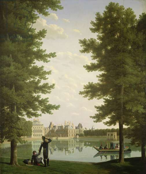 Napoleon I (1769-1821) and Marie-Louise (1791-1847) on the Carp Pond at Fontainebleau, 1810 (oil on canvas)