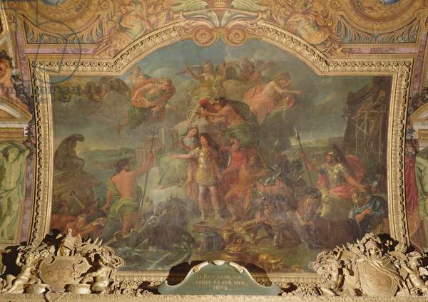 King Louis XIV (1638-1715) taking up Arms on Land and on Sea in 1672, Ceiling Painting from the Galerie des Glaces