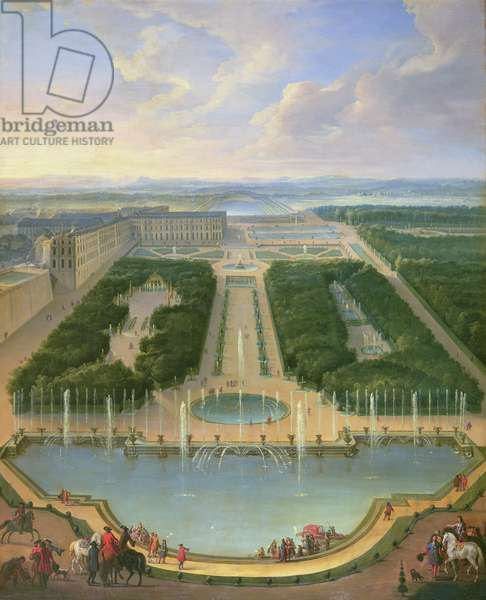 Perspective view of the chateau of Versailles seen from the Neptune Fountain, 1696 (oil on canvas)