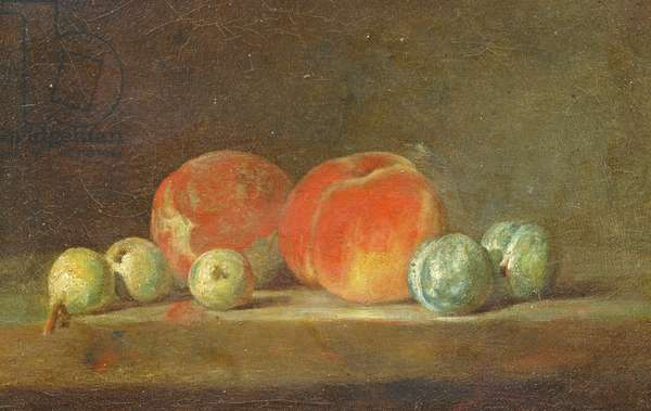 Peaches, Pears and Plums on a table (oil on canvas)