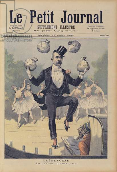 Georges Clemenceau (1841-1929) juggling bags of English money, from 'Le Petit Journal', 19th August 1893 (coloured engraving)
