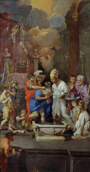 Baptism of Constantine I (270-337) (oil on canvas)