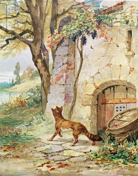 The Fox and the Grapes, illustration for 'Fables' by Jean de La Fontaine (1621-95) (colour litho)