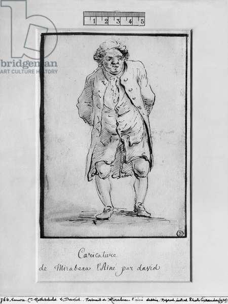 Caricature of Honore Gabriel Riqueti, Comte de Mirabeau (pen & brown ink & grey wash on paper)
