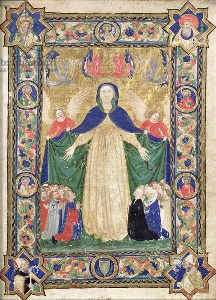 Virgin of the Misericordia, frontispiece from a book of the Scuola della Trinita dei Frati Teutonici, 1422 (vellum)