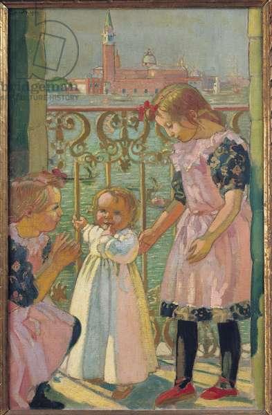 On a Venetian Balcony (oil on canvas)