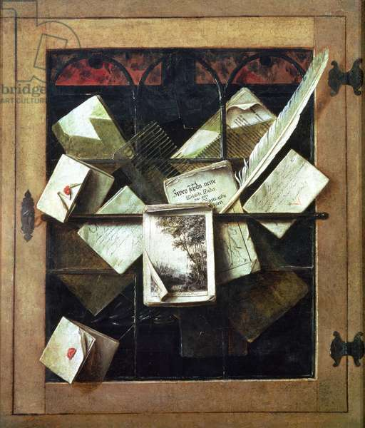 Trompe l'oeil with letters and notebooks, 1665 (oil on canvas)