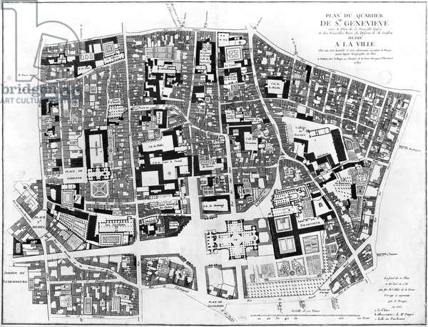 Map of Sainte-Genevieve area, Paris, 1756 (engraving) (b/w photo)