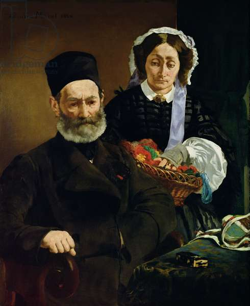 Portrait of Monsieur and Madame Auguste Manet, 1860 (oil on canvas)