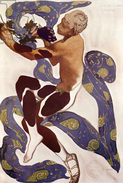 'L'Apres Midi d'un Faune', costume design for Nijinsky (1890-1950) from 'l'Art Decoratif de Leon Bakst' by Arsene Alexandre (1859-1937) and Jean Cocteau (1889-1963) 1912 (gouache on paper)