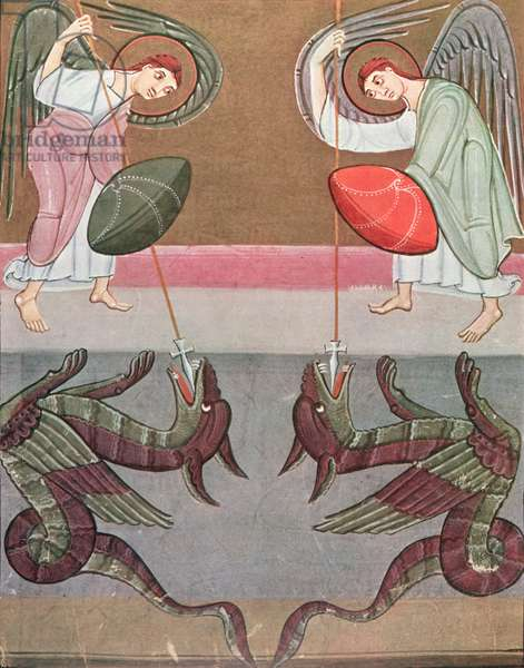 The angels accompanying St. Michael attack the dragons, facsimile of the Bamberg Apocalypse (colour litho)