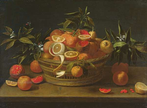 Still life with lemon, orange and pomegranate (oil on wood)
