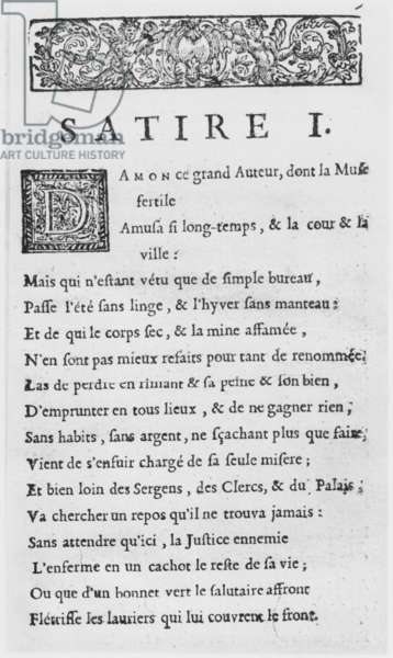 First page of 'Satires' by Nicolas Boileau, known as Boileau-Despreaux, published in 1685 (engraving)