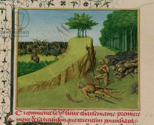 Ms Fr 6465 f.113 The Emperor Charlemagne Finds Roland's Corpse after the Battle of Roncevaux, from 'Les Grandes Chroniques de France', c.1460 (vellum)