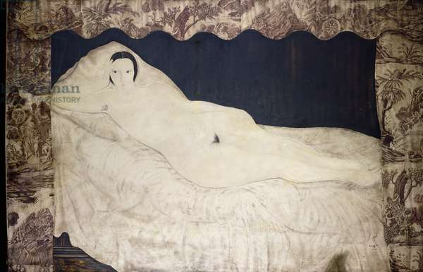 Reclining Nude with Toile de Jouy, 1922 (oil, ink, charcoal and pencil on canvas)