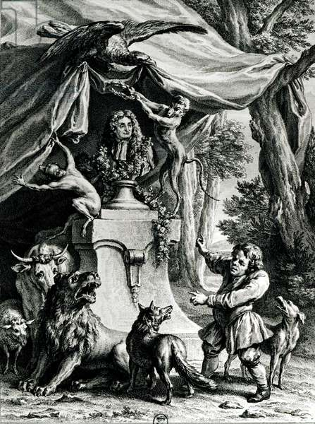 Allegorical portrait of Jean de La Fontaine (1621-95) surrounded by animals from his fables (engraving) (b/w photo)