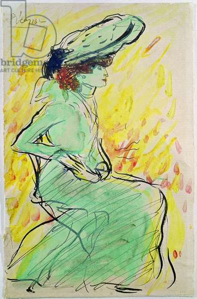 Woman in Green, 1901 (w/c & ink on paper)