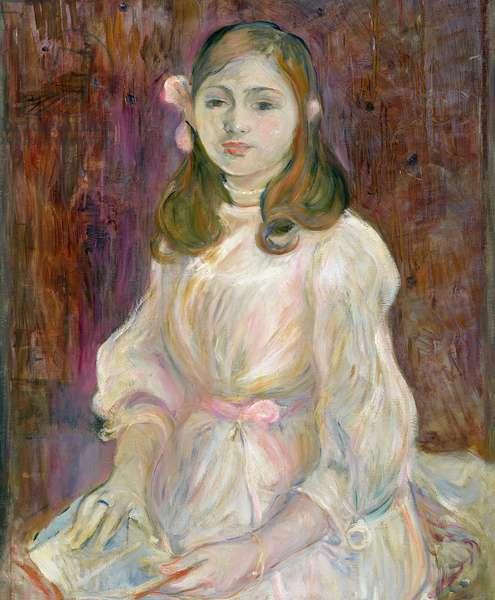 Portrait of Julie Manet (1878-1966) Holding a Book, 1889 (oil on canvas)
