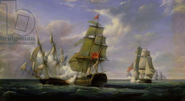 Combat between the French Frigate 'La Canonniere' and the English Vessel 'The Tremendous', 21st April 1806, 1835 (oil on canvas)