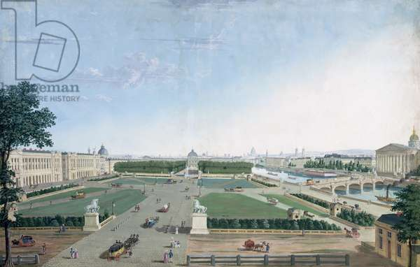 View of the Place Louis XV and the Jardin des Tuileries, 1815-30 (gouache on paper)