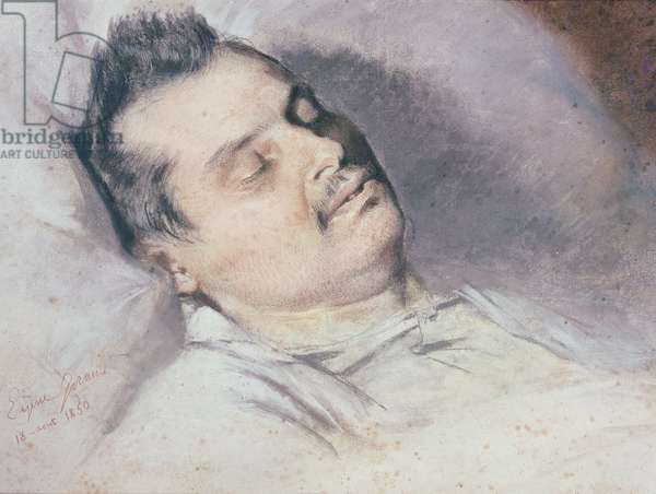 Honore de Balzac (1799-1850) on his Deathbed, 15th August 1850 (pastel & chalk on paper)