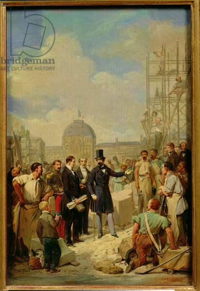 Study for Napoleon III (1808-73) Visiting the Works at the Louvre, 1854 (oil on canvas)