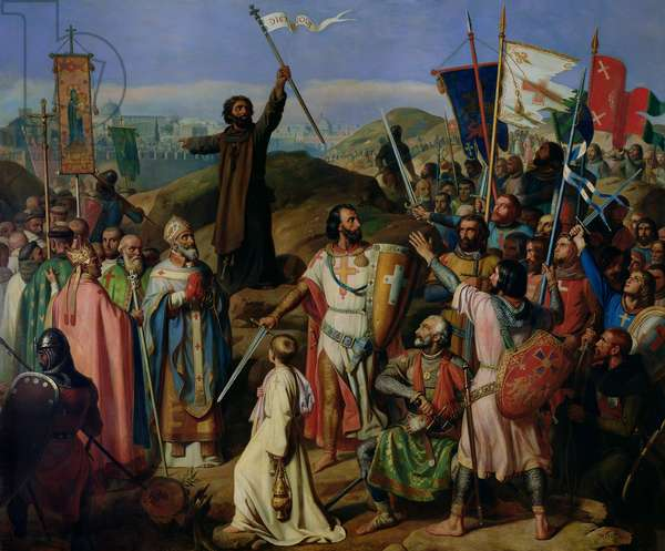 Procession of Crusaders around Jerusalem, 14th July 1099, 1841 (oil on canvas)