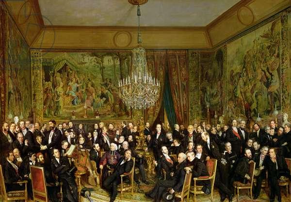 The Salon of Alfred Emilien, Comte de Nieuwerkerke (1811-92) at the Louvre, 1855 (oil on canvas)