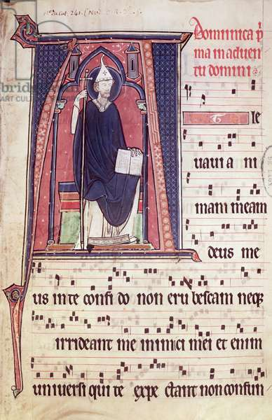 Ms 241 f.1 Historiated initial 'A' depicting St. Gregory, from the Antiphonal for the consecration of the Abbey Church of Vauclair, 1257 (vellum)