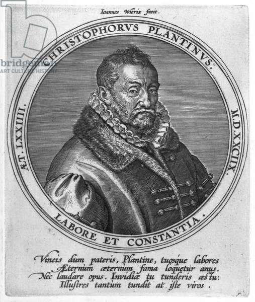Christophe Plantin (c.1520-89) (engraving) (b/w photo)