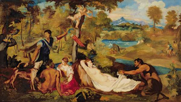 Jupiter and Antiope, 1856 (oil on canvas)