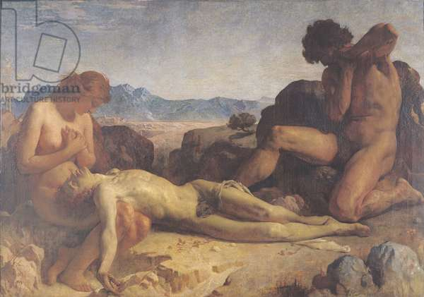 Adam and Eve finding the body of Abel (oil on canvas)