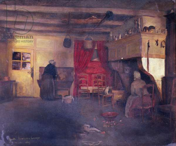 Peasant Interior at Damvilliers, 1882 (oil on canvas)