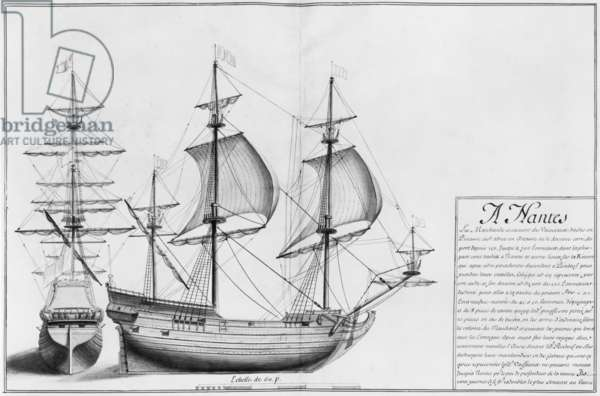 Vessels, Nantes, illustration from 'Desseins des various manners de ships... from Nantes to Bayonne... ', 1679 (pencil & w/c on paper) (b/w photo)