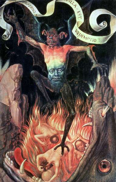 Hell, right hand panel from the Triptych of Earthly Vanity and Divine Salvation, c.1485 (oil on panel)