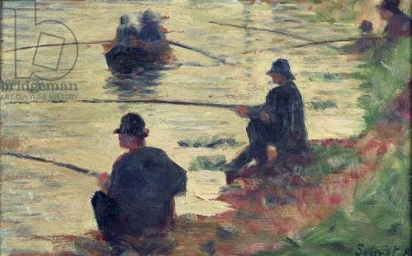 Anglers, Study for 'La Grande Jatte', 1883 (oil on panel)