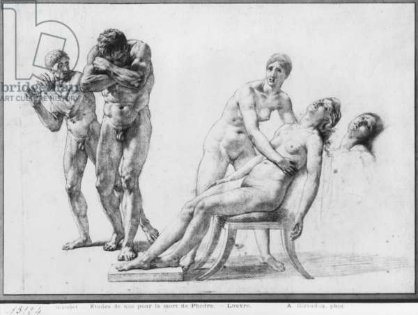 Death of Phaedra, prepatory sketch for the illustration of Racine's Complete Works, Act V Scene VII, published 1801 (black pencil on paper) (b/w photo)