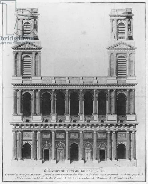 Church of Saint-Sulpice, elevation of the facade, Paris, 1782 (engraving) (b/w photo)